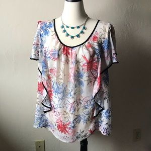 Watercolor floral blouse